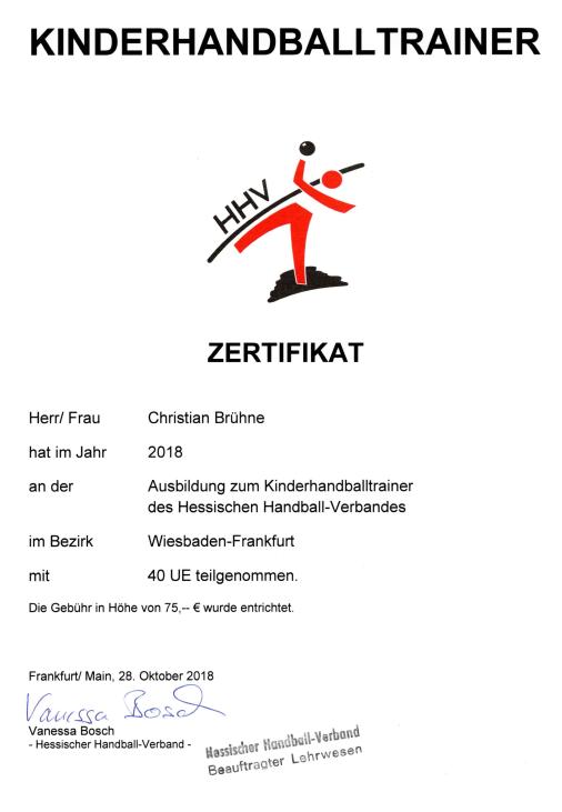 Christian Brühne absolviert Ausbildung zu KHT
