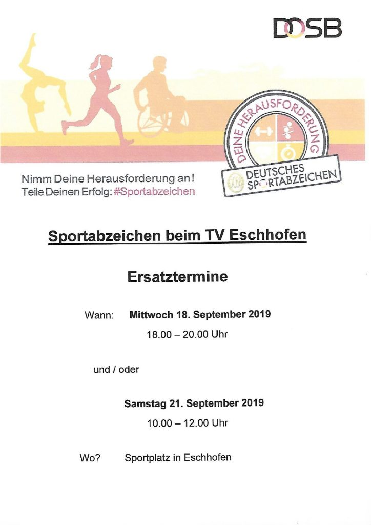 Sportabzeichentag TVE – Ersatztermin